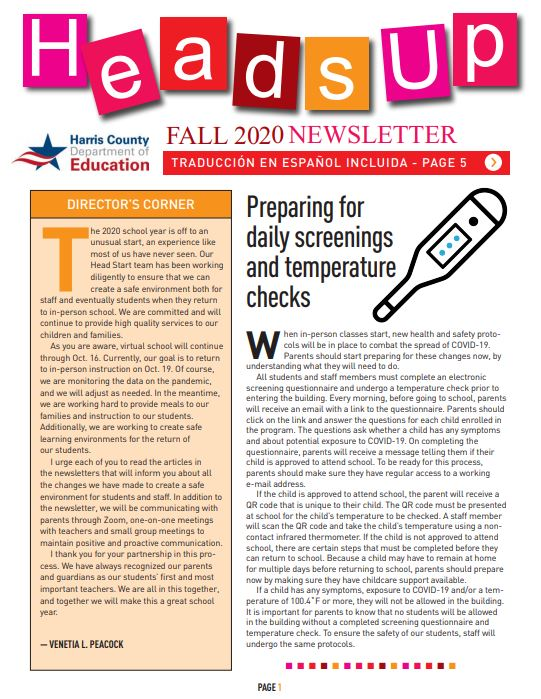 Image of the first page of the Heads Up Head Start newslesser