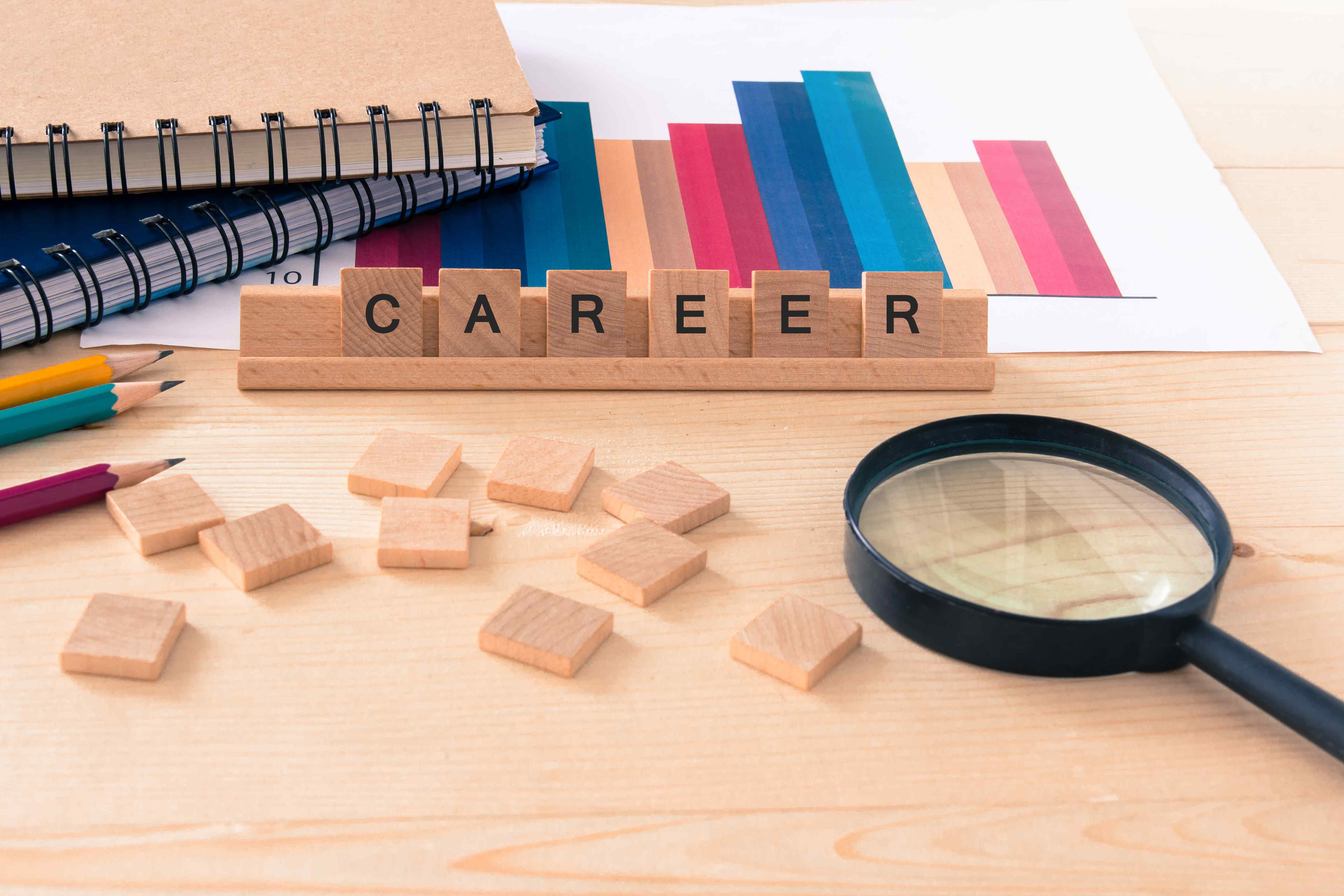 Image of the word career in letter blocks, links to HCDE job search.